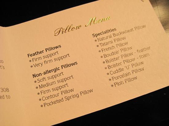 Sleep menu. (Image via the Conrad, Chicago)