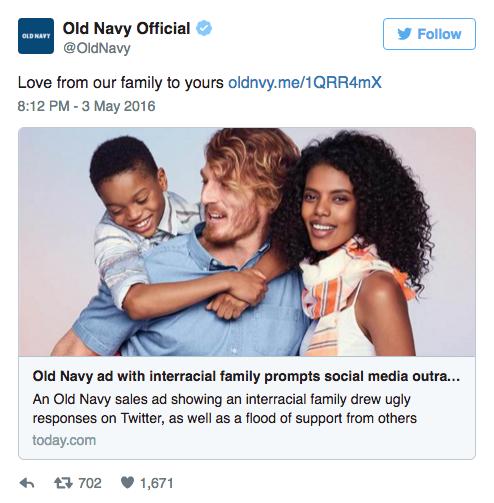 Old Navy's controversial tweet. (Image via Twitter)