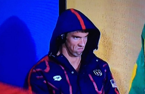 Seriously, does it get any better than Michael Phelps' angry game face? (Image via Twitter)