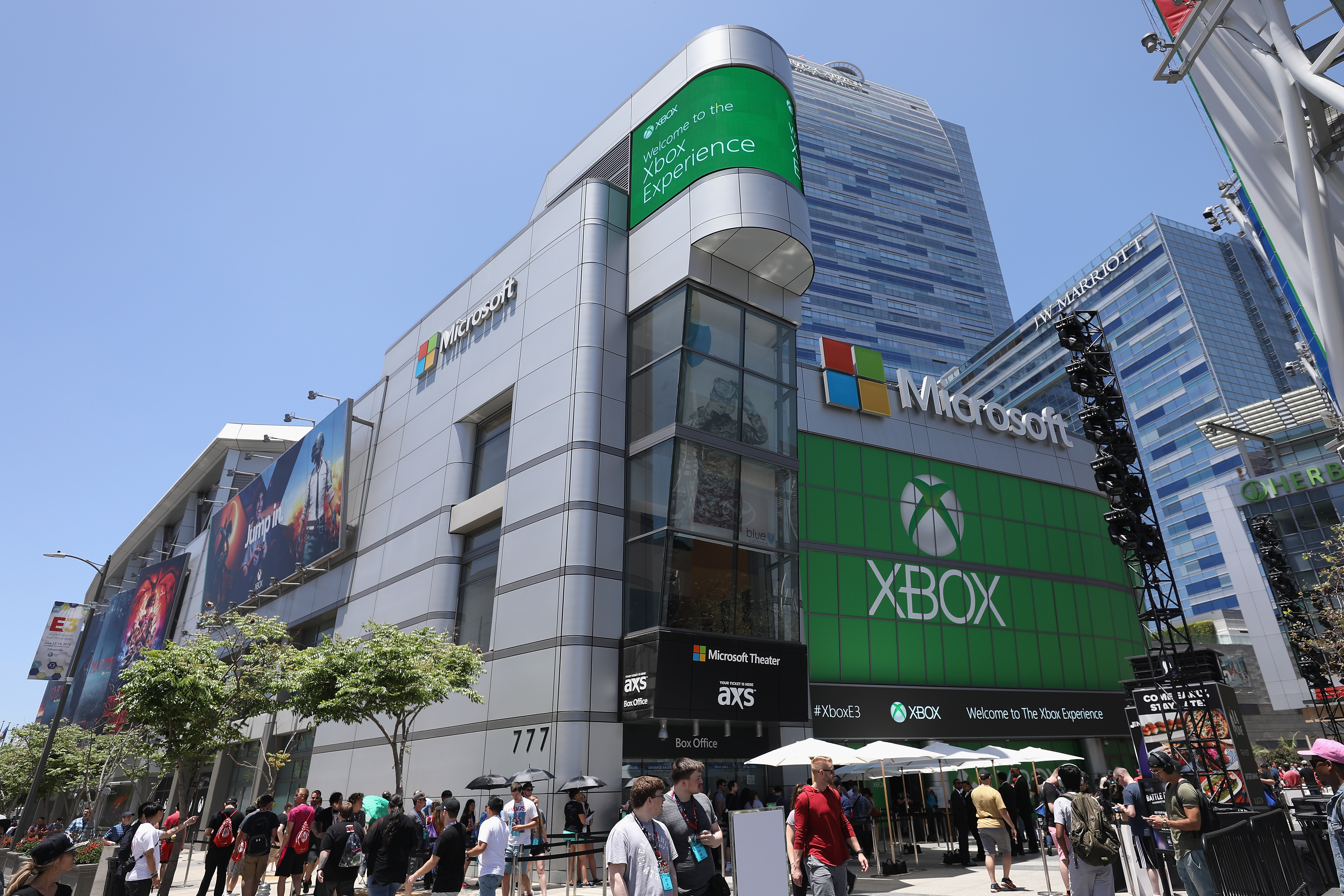 LOS ANGELES, CA - JUNE 12:  Game enthusiasts and industry personnel gather outside of the Microsoft Theater for the 'XBox' experience during the Electronic Entertainment Expo E3 on June 12, 2018 in Los Angeles, California.  (Photo by Christian Petersen/Getty Images)
